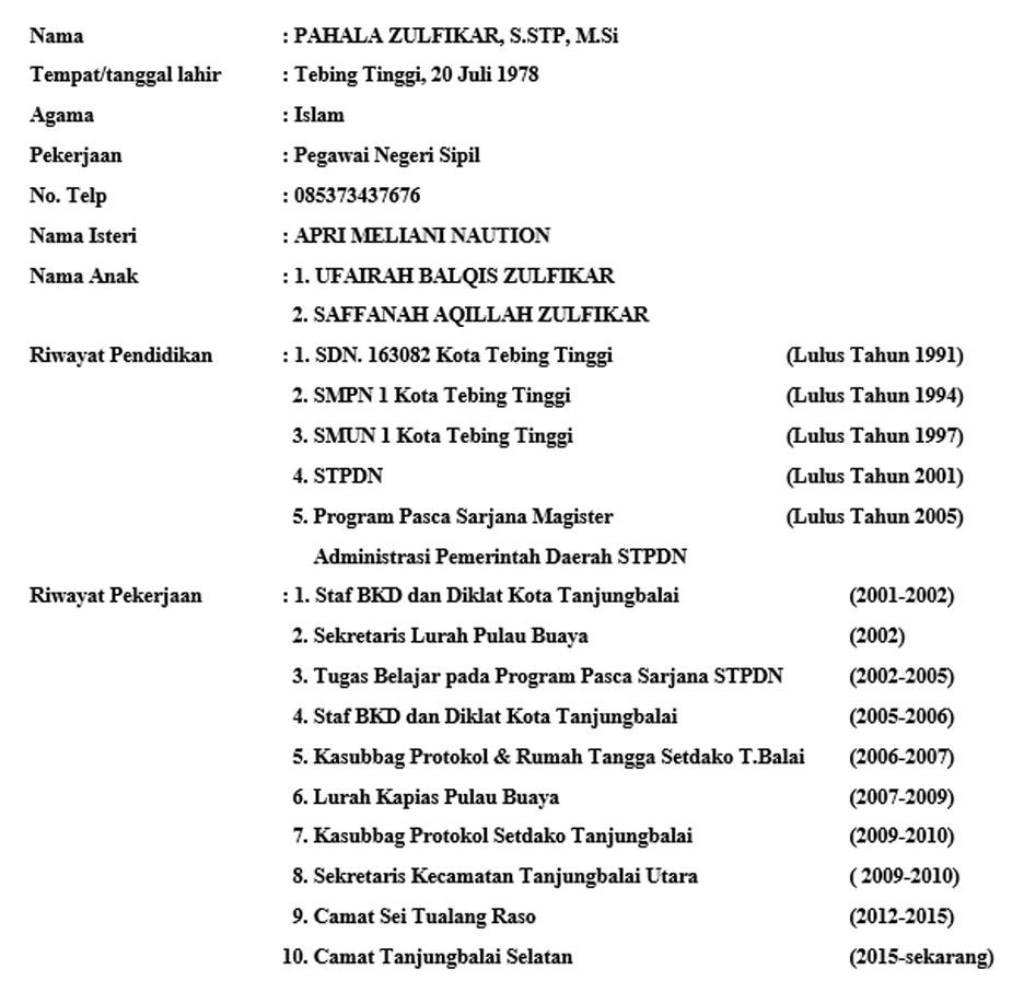 Profil Camat Kecamatan Tanjungbalai Selatan
